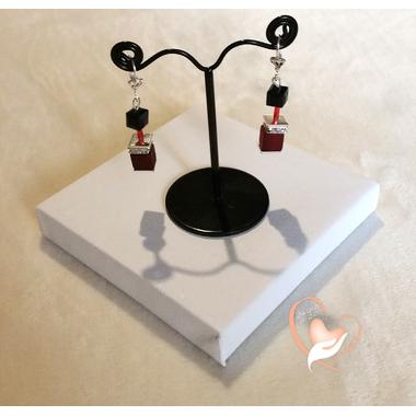 63-Boucles d'oreille Stendhal rouge et noir argent- au coeur des arts