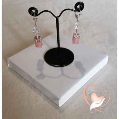 61-Boucles d'oreille Melody transparent et rose pâle rgent- au coeur des arts