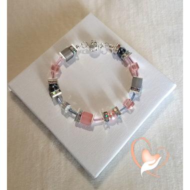 55-Bracelet Melody rose et gris - au coeur des arts