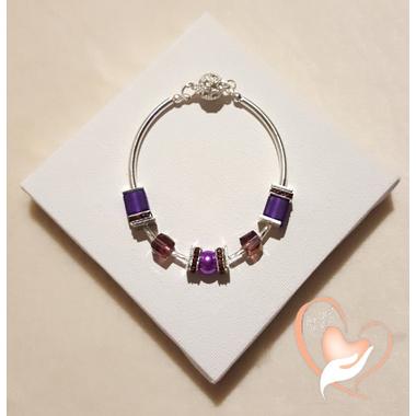 63-Bracelet élégance parme argent- au coeur des arts