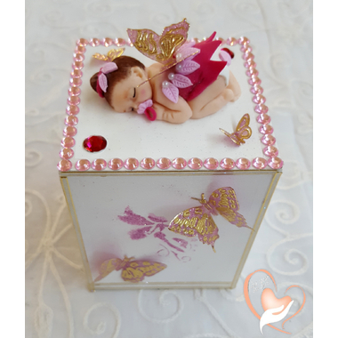 4-Tirelire bébé fille - fée clochette rose - au coeur des arts