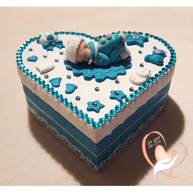 40-Boîte de naissance bébé garçon turquoise et blanche - au coeur des arts