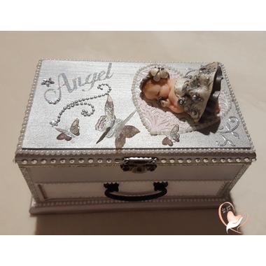 2C-Boîte à musique grise et blanche bébé fille- au coeur des arts
