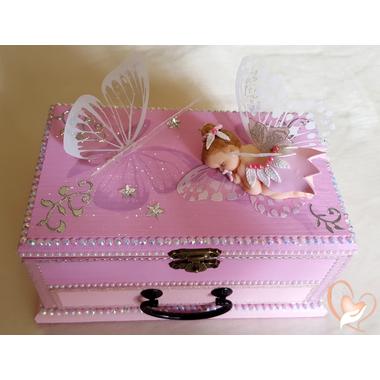 3B-Boîte à trésor rose bébé fille fée clochette- au coeur des arts