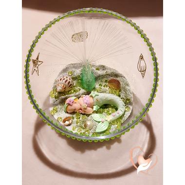 33-Veilleuse Sirène dans sa bulle verte et rose - au coeur des arts