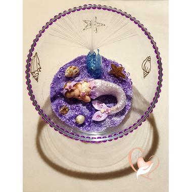 34-Veilleuse Sirène dans sa bulle parme- au coeur des arts