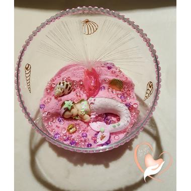 35-Veilleuse Sirène dans sa bulle rose et verte - au coeur des arts