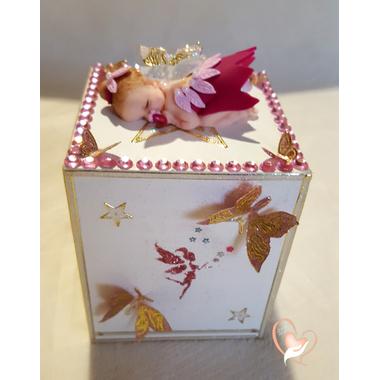 8-Tirelire bébé fille, fée clochette rose - au coeur des arts