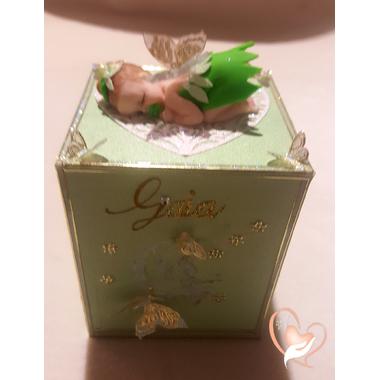 9-Tirelire bébé fille, fée clochette verte - au coeur des arts