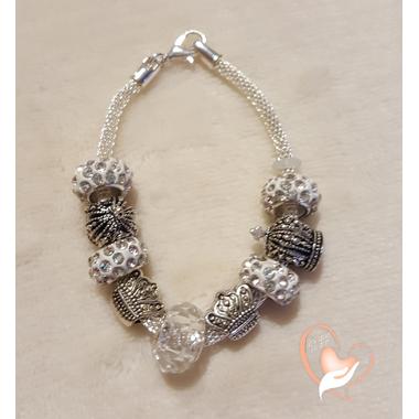 66-Bracelet argent couronne style pandora- au coeur des arts