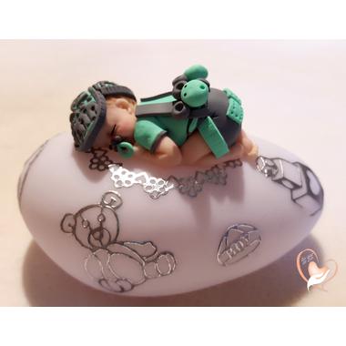 46a-Veilleuse galet lumineux bébé garçon shun vert- au coeur des arts