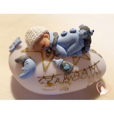 48-Veilleuse galet lumineux bébé garçon bleu- au coeur des arts