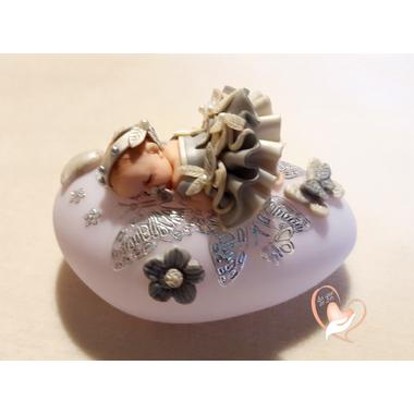 44A-Veilleuse galet lumineux bébé fille Artémisia - au coeur des arts