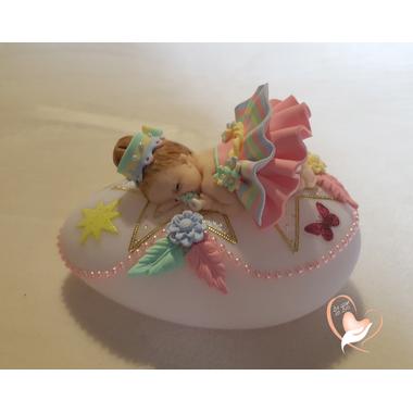 59-Veilleuse galet lumineux bébé fille arc en ciel- au coeur des arts