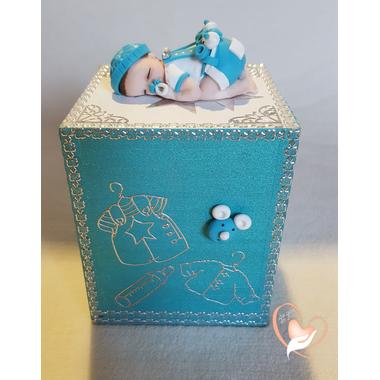 24C-Tirelire bébé garçon shun bleu- au coeur des arts