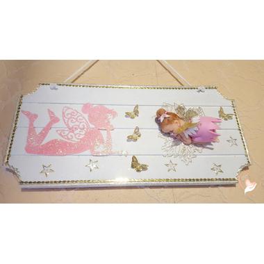 11-Plaque de porte bébé fille fée clochette rose- au coeur des arts