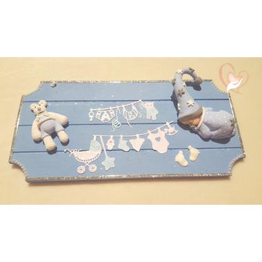 9-Plaque de porte bébé garçon bleu- au coeur des arts