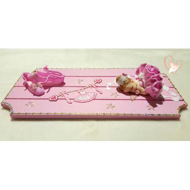 10-Plaque de porte bébé Ballerine rose- au coeur des arts