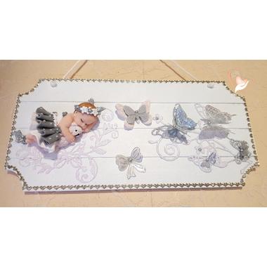 12-Plaque de porte bébé fille gris- au coeur des arts