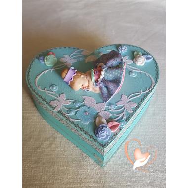 45-Boîte de naissance bleue lagon bébé fille - au coeur des arts