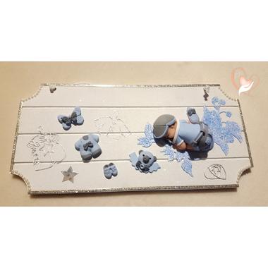14-Plaque de porte bébé garçon bleu et gris - au coeur des arts