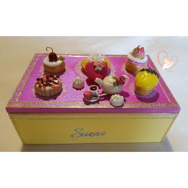 2-Boîte à sucre rose et jaune - au coeur des arts
