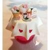 Sucrier ou pot à confiture rose et blanc - au coeur des arts