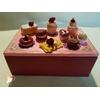 Boîte à sucre ou à biscuits bordeaux et rose - au coeur des arts
