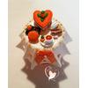 Sucrier ou pot à confiture orange et blanc - au coeur des arts