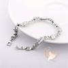 Bracelet plaqué argent zircon rectangulaires et maillons plats - au coeur des arts