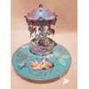 Carrousel musical Veilleuse lampe lumineuse sur socle en bois bebe garçon - au coeur des arts