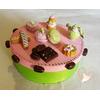 Boîte à gâteaux ou à dosettes rose et verte
