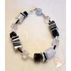 Bracelet perles polaris noires et grises - argent