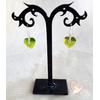 Boucles d'oreille coeur vert argent- au coeur des arts