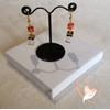 Boucles d'oreille Savane orange et blanc plaqué or- au coeur des arts