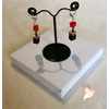Boucles d'oreille Stendhal rouge et noir argent- au coeur des arts