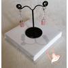 Boucles d'oreille Melody transparent et rose pâle argent- au coeur des arts