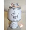 Lampe de chevet blanche bébé garçon gris et blanc - au cœur des arts
