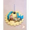 Porte bougie anniversaire bébé garçon vanille et turquoise - au coeur des arts