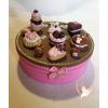 Boîte à biscuits ou chocolats, chocolat et rose- au coeur des arts