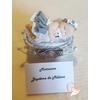 Marque place bébé fille gris avec son ours baptême - au coeur des arts