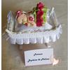 Marque place bébé fille rose et vert baptême - au coeur des arts