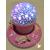 115B-au coeur des arts-Veilleuse ciel étoilé lampe lumineuse rose sur socle en bois bebe fille