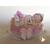 3-Marque place bébé fille rose avec son ours baptème - au coeur des arts