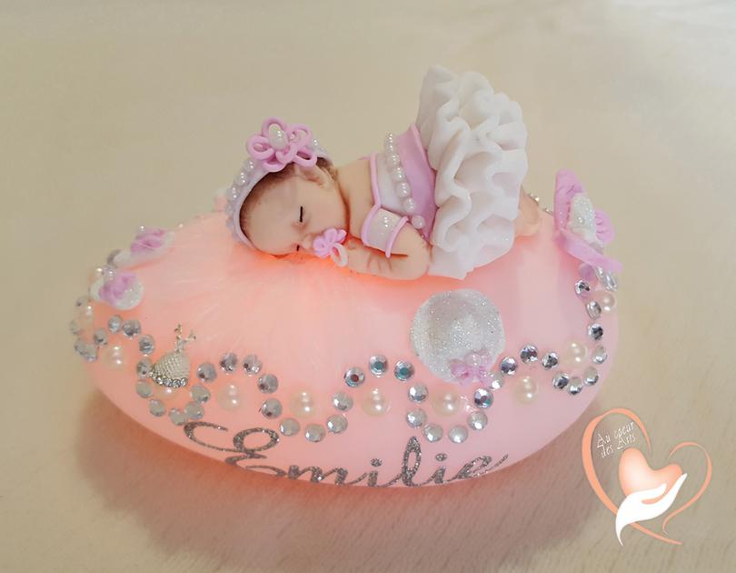 Veilleuse galet lumineux b b fille rose cadeaux de - Image bebe fille ...