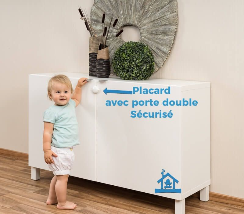 bloque placard porte double s curit enfant contr le acc s. Black Bedroom Furniture Sets. Home Design Ideas