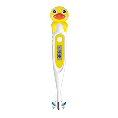 Thermomètre médical jaune avec tête de canard embout flexible fond blanc_YAPA_HA_014