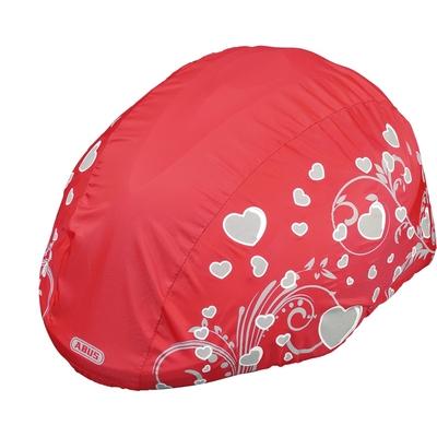 protection pluie pour casque de vélo enfant rouge avec décor coeur gris modele fille vue oblique_YAPA_CL_008