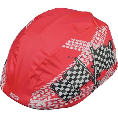 protection pluie pour casque de vélo enfant rouge avec décor drapeau à damier modele garçon vue oblique_YAPA_CL_007