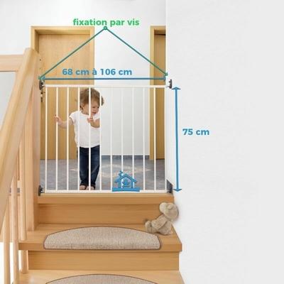 Barrière de Sécurité escalier Extensible à Visser en métal_YAPA-PA-020